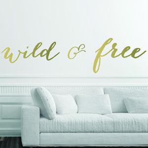 Wild And Free Metallic Wall Stickers - less ordinary wall art