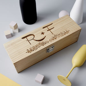 Initials Wooden Personalised Bottle Box - for the couple