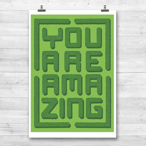 'You Are Amazing' Topiary Maze Print - posters & prints