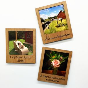 Personalised Polaroid Magnetic Wooden Frame
