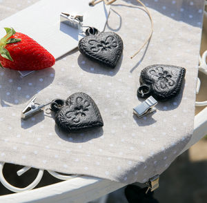 Set Of Four Cast Iron Heart Table Weights