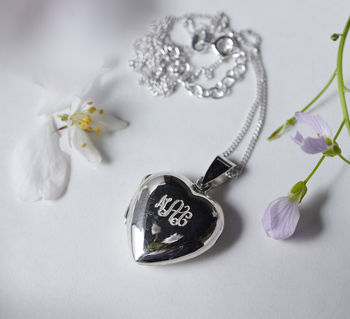 Silver Monogrammed Heart Locket