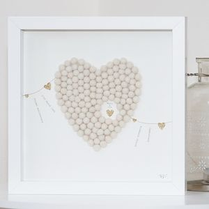 Personalised Heart And Bunting Framed Artwork - dates & special occasions