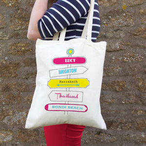 Personalised Holiday Signpost Bag - bags & purses
