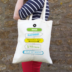 Personalised Music Festival Signpost Bag - womens