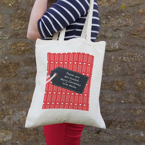 Personalised Christmas Chalkboard Style Tag Gift Bag - women's sale