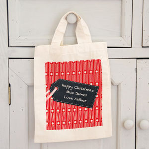 Personalised Christmas Chalkboard Style Tag Gift Bag
