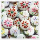 Small Floral Badge Made From Vintage Embroidered Linen