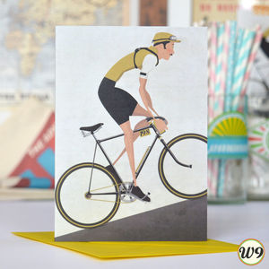 Vintage Tour De France Cyclist Greetings Card - blank cards
