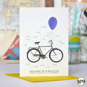 Anatomy Of A Bicycle Greetings Card