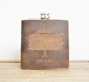 Personalised Oak Tree Leather Hip Flask