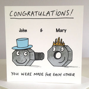 'Made For Each Other' Personalised Wedding Card