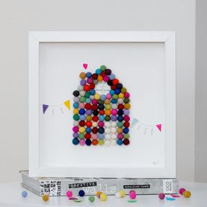 Personalised Home And Bunting Framed Artwork