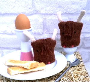 Highland Cow Egg Cosy - egg cups & cosies