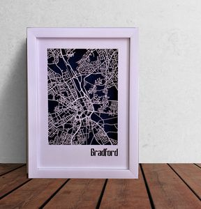 Bradford Map Cut Out Street Map