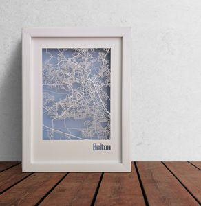 Bolton Map Cut Out Street Map