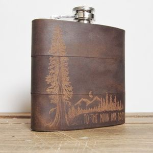 Personalised Mountain Man Leather Hip Flask - hip flasks