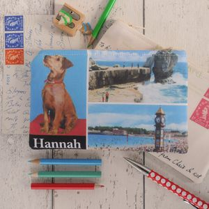 Little Dog Personalised Postcard Purse - make-up & wash bags