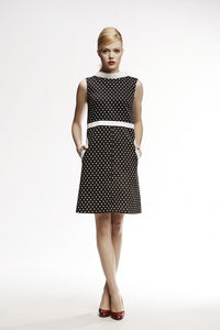 Audrey High Neck A Line Polka Dot Dress - dresses
