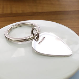 Personalised Silver Plectrum Keyring - metal keyrings