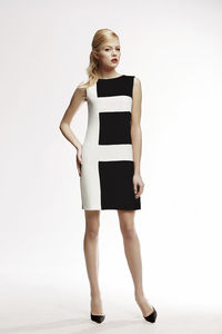 Marie Black Striped Silk Sleeveless Dress - women's fashion