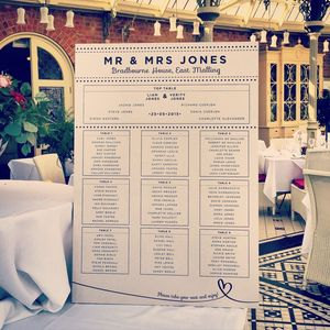 Luxury Wooden Wedding Table Plan - wedding stationery