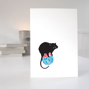 Red and Blue Cute Rat Birthday Card