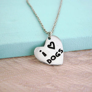 'I Love Dogs' Heart Necklace