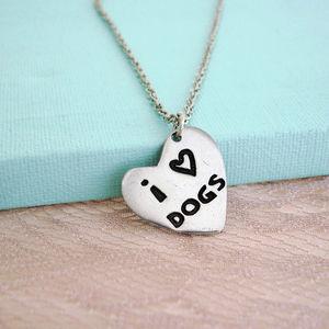 'I Love Dogs' Heart Necklace - women's jewellery
