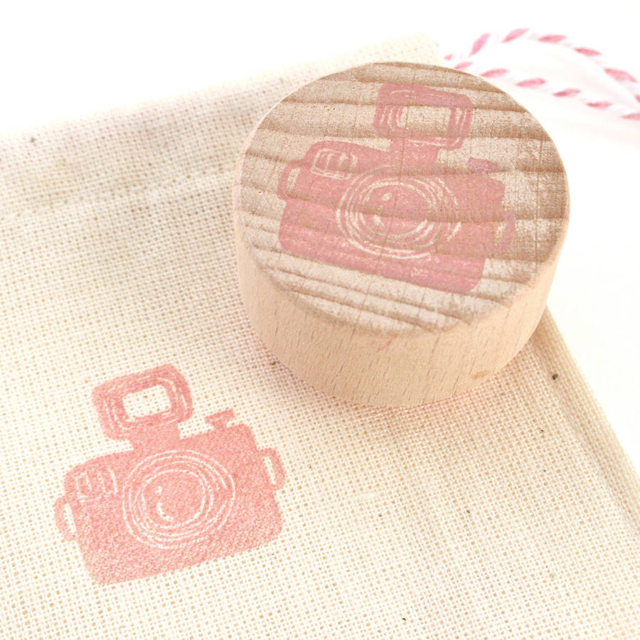 Camera hand carved rubber stamp by little store