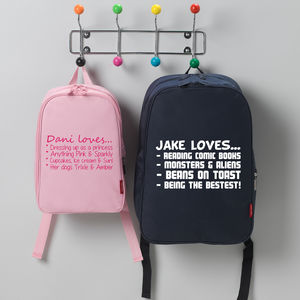 Personalised Child Loves Rucksack - under £25