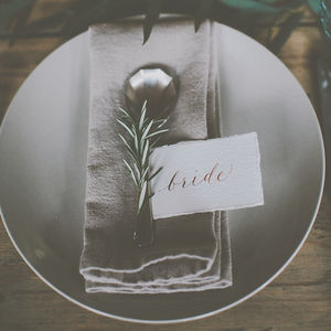 Modern Hand Torn Calligraphy Place Name Cards - place cards