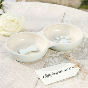 Ceramic Paw Print Double Feeding Bowl