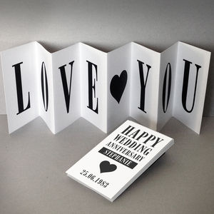 Personalised Anniversary Card; Love You Concertina Card - wedding, engagement & anniversary cards