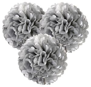 Set Of Three Silver Pom Poms - outdoor living