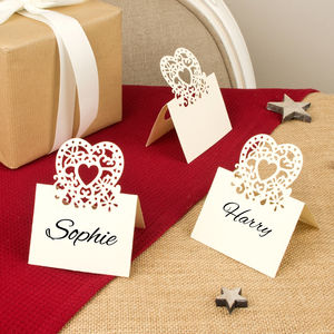 Set Of 10 Paper Heart Name Place Cards - wedding stationery