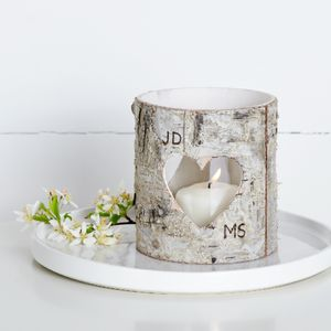 Personalised Birch Bark Vase / Candle Holder - christmas lighting