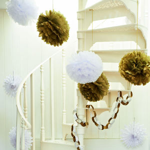 Set Of Three White Pom Poms - outdoor decorations