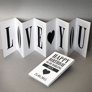 Personalised Birthday Card; Love You Concertina Card - birthday cards