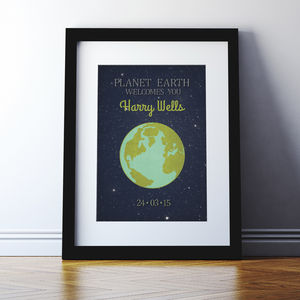 Personalised 'Planet Earth' New Baby Print