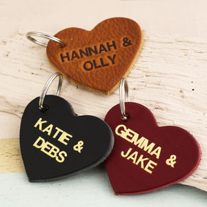 Personalised Embossed Leather Heart Keyring - keyrings
