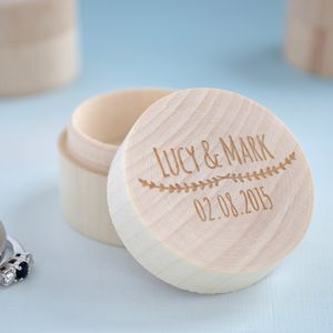 Engraved Wooden Ring Box - women's jewellery