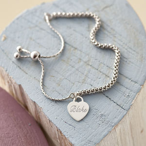 Personalised Sterling Silver Charm Friendship Bracelet