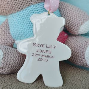 Personalised Baby Girl Teddy Keepsake