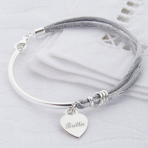 Bridesmaid Personalised Silk And Sterling Silver Bangle