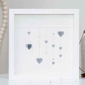 Personalised Hanging Hearts Framed Artwork