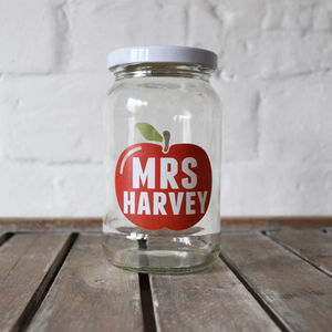 Personalised Teacher Apple Treat Jar - office & study