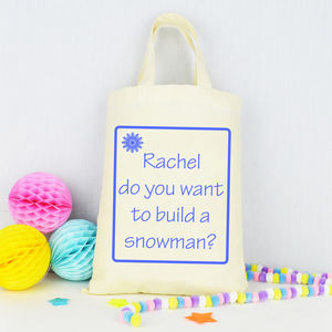 Personalised 'Do You Want To Build A Snowman?' Bag