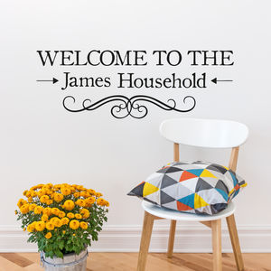'Welcome' Personalised Vinyl Wall Sticker - office & study