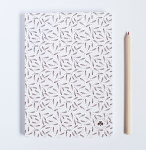 Lined Bird Feather Notebook
